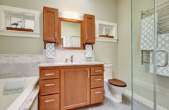 Luxury bathroom interior with marble tile. Trim, modern cabinets. Northwest, USA Royalty Free Stock Image
