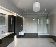 Luxury bathroom interior. Interior of modern luxury bathroom in minimalistic style Royalty Free Stock Images