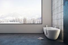 Luxury bathroom with panoramic view. Luxury bathroom interior with panoramic winter landscape view. Copy space and design concept. 3D Rendering Stock Photo