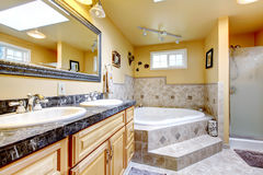 Luxury bathroom with jacuzzi style bath tub, stone floor, and bl Stock Photography