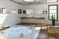 Luxury bathroom. Large Luxury bathroom with bathub into the floor Stock Images
