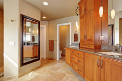 Luxury bathroom with large storage combination and granite tops Stock Photos