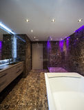 Luxury bathroom in a modern house. Interiors of a modern apartment, without furniture Royalty Free Stock Photography