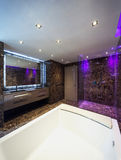 Luxury bathroom in a modern house. Interiors of a modern apartment, without furniture Stock Images