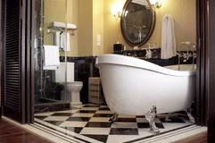 Luxury bathroom. In the palace hotel room The Majestic in Malacca in Malaysia royalty free stock image