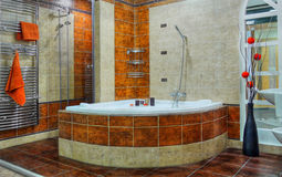 Luxury Bathroom Relaxation Interior. Interior of luxury bathroom in resort apartment stock photos