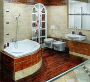 Luxury Bathroom Relaxation Interior. Interior of luxury bathroom in resort apartment stock image