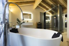 Luxury bathroom with shower and wood ceiling Stock Photos