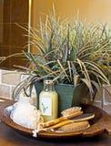 Luxury Bathroom Spa Set With Plant Royalty Free Stock Photo