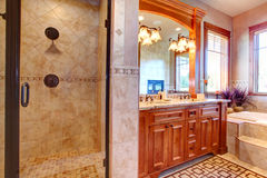 Luxury bathroom. Tropical theme interior Stock Photo