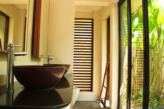 Luxury bathroom in tropical villa Royalty Free Stock Photo
