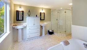 Luxury bathroom with tub glass shower double sink. Fresh modern design of bathroom Stock Image