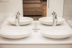 Luxury bathroom with two sinks and mirror Royalty Free Stock Photography