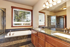 Luxury bathroom with vanity cabinet with granite counter top and large mirror. Luxury bathroom interior with vanity cabinet with granite counter top and large Royalty Free Stock Photo