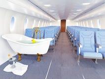 Luxury bathtube in airplane. Cabin. 3d creativity concept royalty free illustration
