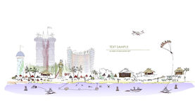 Luxury beach club hotel illustration City collection Royalty Free Stock Photos