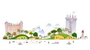 Luxury beach club hotel illustration Stock Photo