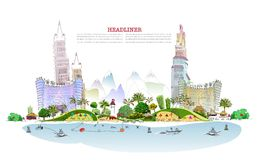 Luxury beach club hotel illustration Stock Images