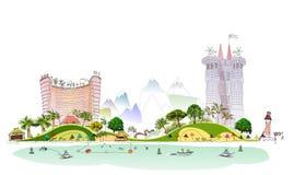 Luxury beach club hotel illustration Royalty Free Stock Photo