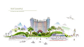 Luxury beach club hotel illustration City line collection Royalty Free Stock Photo