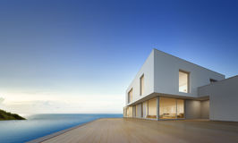 Luxury beach house with sea view swimming pool and empty terrace in modern design, Vacation home for big family Stock Image