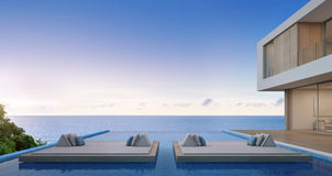 Luxury beach house with sea view swimming pool in modern design, Vacation home for big family Stock Photography