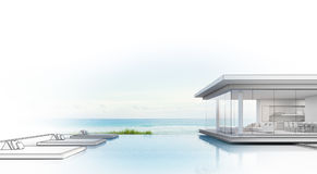Luxury beach house with sea view swimming pool, Sketch design of modern vacation home for big family. 3d rendering of building and swimming pool Royalty Free Stock Image