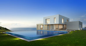 Luxury beach house with sea view swimming pool and terrace in modern design, Vacation home for big family. 3d rendering of building and swimming pool Royalty Free Stock Photo