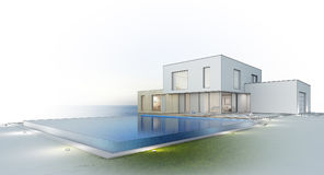 Luxury beach house with sea view swimming pool and terrace in modern design, Vacation home for big family on white background. 3d rendering of building and Stock Image
