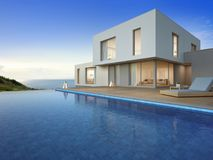 Luxury beach house with sea view swimming pool and terrace in modern design, Vacation home or holiday villa for big family. 3d rendering of building and swimming Royalty Free Stock Image