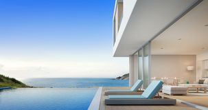 Luxury beach house with sea view swimming pool and terrace near living room in modern design, Vacation home or holiday villa. 3d rendering of building and Stock Image