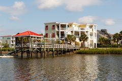 Vacation rental cottages on the canal Royalty Free Stock Photos