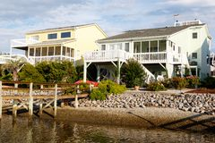 Vacation rental cottages on the canal Stock Photo