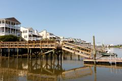 Vacation rental cottages on the canal Stock Photography