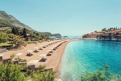 Luxury beach in Montenegro Stock Images