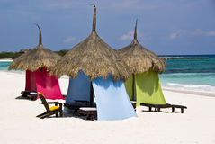 Luxury beach palapa at a Caribbean resort Royalty Free Stock Photo