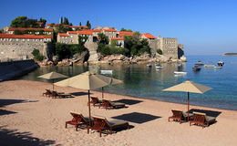 Luxury beach - Sveti Stefan, Montenegro stock photo