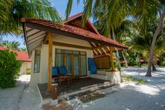Luxury beautiful beach cabin located at the tropical island. In Maldives Royalty Free Stock Photography