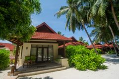 Luxury beautiful beach chalet located at the tropical resort. In Maldives Royalty Free Stock Images