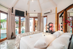 Luxury and Beautiful Bedroom Tropical Villa royalty free stock image