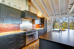 Luxury beautiful dark modern kitchen with vaulted wood ceiling. Stock Photos