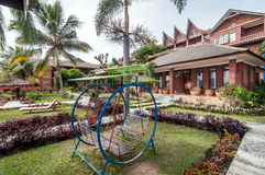 Luxury and Beautiful exterior garden villa. Beautiful exterior villa and Hotel in Samosir Island, North Sumatra, Indonesia with green open space garden and stock photos