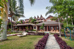 Luxury and Beautiful exterior garden villa Lakefront. Beautiful exterior villa and Hotel in Samosir Island, North Sumatra, Indonesia with green open space garden stock photo