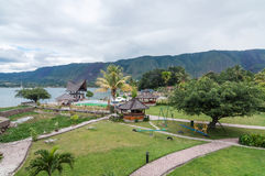 Luxury and Beautiful exterior garden villa Lakefront. Beautiful exterior villa and Hotel in Samosir Island, North Sumatra, Indonesia with green open space garden stock images