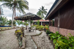 Luxury and Beautiful exterior garden villa Lakefront. Beautiful exterior villa and Hotel in Samosir Island, North Sumatra, Indonesia with green open space garden stock photos