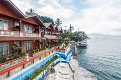 Luxury and Beautiful exterior villa in Samosir Island. Beautiful exterior villa and Hotel in Samosir Island, North Sumatra, Indonesia with open space, outdoor royalty free stock photos