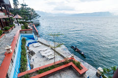 Luxury and Beautiful exterior villa in Samosir Island. Beautiful exterior villa and Hotel in Samosir Island, North Sumatra, Indonesia with open space, outdoor stock photo