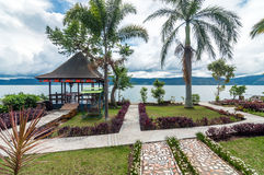 Luxury and Beautiful exterior villa in Samosir Island. Beautiful exterior villa and Hotel in Samosir Island, North Sumatra, Indonesia with open space, and royalty free stock photos
