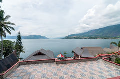 Luxury and Beautiful exterior villa in Samosir Island. Beautiful exterior villa and Hotel in Samosir Island, North Sumatra, Indonesia with open space and stock image