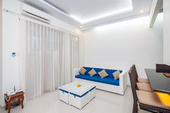 Luxury and Beautiful Interior Room Villa. Beautiful and modern villa interior in Bali property with white wall royalty free stock images